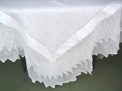 Vintage Linen Hand Knitted Edge Table Cloth