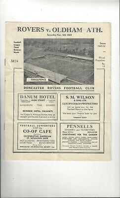 Doncaster Rovers v Oldham Athletic Football Programme 1949/50