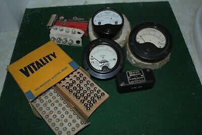 Various Round Panel MetersAnalog and other items including Bulbs and Shunt
