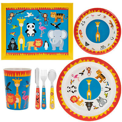 7pcs Kids Zoo Animals Design Breakfast Dinner Cutlery Set Cup Bowl Plate Laptray