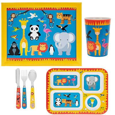 6pcs Kids Zoo Animals Design Breakfast Dinner Cutlery Set Cup Plate And Laptray
