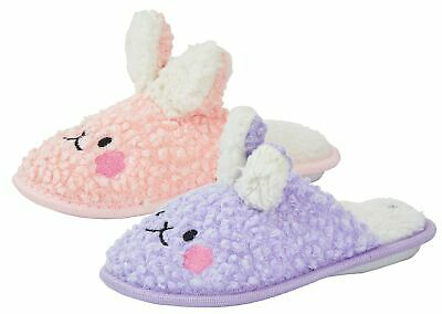 Girls Fluffy Slippers Bunny Rabbit Mouse Kids Cute 3D Open Back House Shoes Size