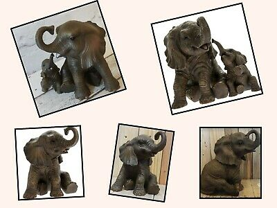 Elephant Ornament Leonardo Collection Mother and Baby Calf, Extra Large Sitting