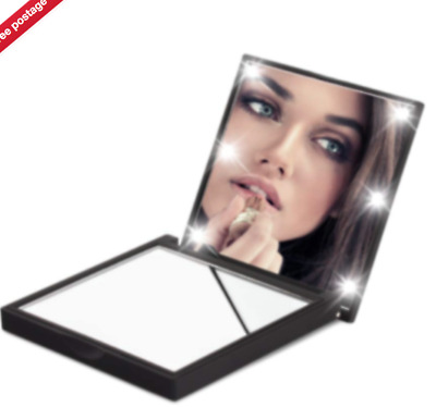 Folding Pocket Mirror Cosmetic Compact with 6 LED Lights Lamps Makeup Portable