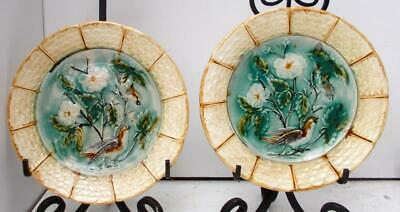 Pair of Vintage Antique French Majolica Floral, Birds & Foliage Plates #A