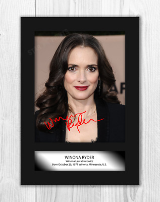Winona Ryder (1) Stranger Things A4 reproduction signed poster. Choice of frame