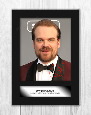 David Harbour (2) Stranger Things A4 reproduction signed poster. Choice of frame