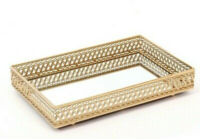 DIPAMKAR® 28cm Gold Rectangle Electroplated Finish Mirrored Candle Serving Tray