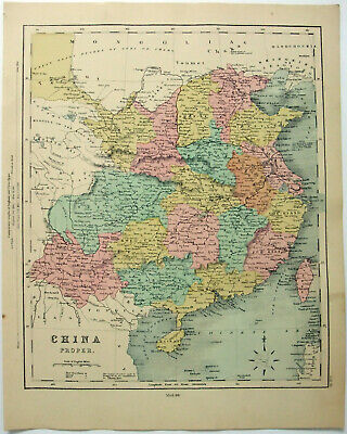 Original 1878 Map of Eastern China by William Hughes.  Antique