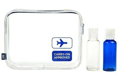 3pcs TSA Approved Clear Travel Toiletry Bag with Bottles Airline Carry-On Makeup