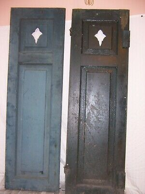 2 antique raised panel window shutter victorian Fleur De Lis 46x14 vintage old