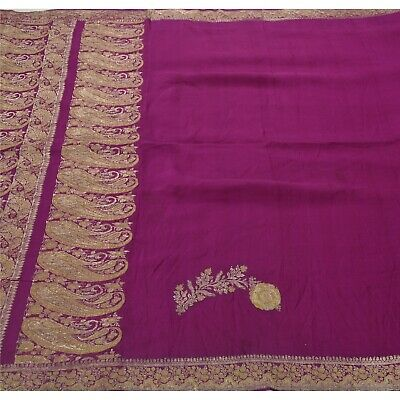 Sanskriti Vintage Purple Saree Pure Silk Zari Woven Craft Fabric Premium Sari