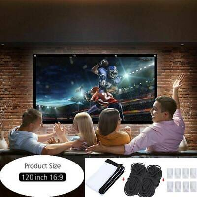 120inch Portable Foldable Projector Screen 16:9 HD Home Indoor Theater 149cm