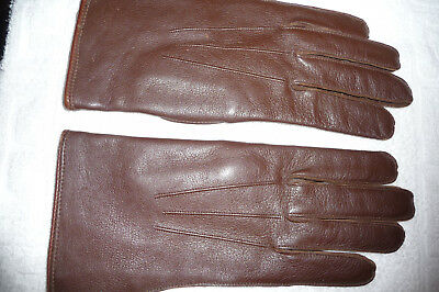 Wartime Utility Logo Leather Gloves - Made During Rationing - Size L - Not Used