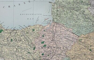 1889 County Map Somerset Bridgwater Frome Bath Wells Taunton Ilminster