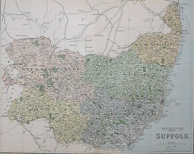 1889 County Map Woodbridge Ipswich Bury St Edmunds Beccles Stowmarket Sudbury