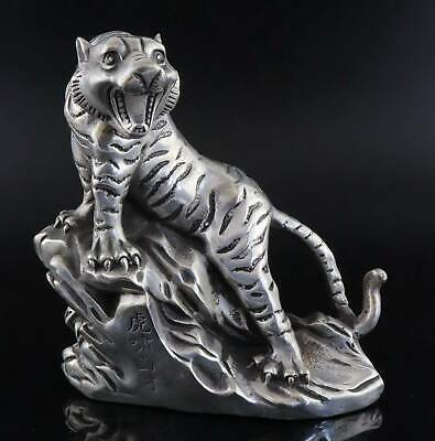 Collect Qianlong Years Antique Tibet Silver Carve Roar Tiger Exquisite Statue