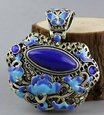 Collect Decor Cloisonne Hand Carve Blooming Flower Delicate Hollow Out Pendant