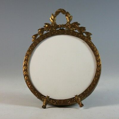 Antique Round French Bronze Bow Top Photo Frame Easel Back