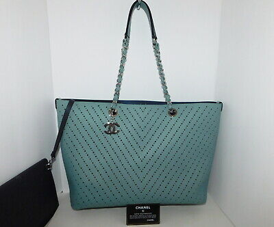 f4e85e5e8f90 CHANEL Perforated Grained Calfskin Large Shopping Tote Beach Bag Green  Authentic