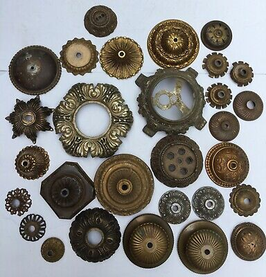 Lot of 29 Antique VTG Ornate Metal Lamp Light Chandelier Pieces Parts Hardware