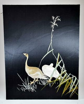 Fine Quality Vintage Chinese Embroidered Silk Ducks Picture Scroll