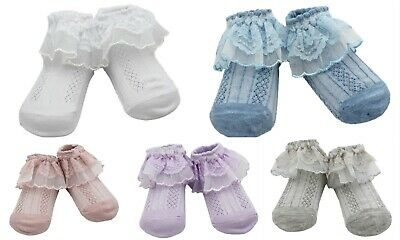 2 Pairs Girls Summer Frilly Lace Ankle School Socks Age 1-2-3-4-5-6-7-8-9-10