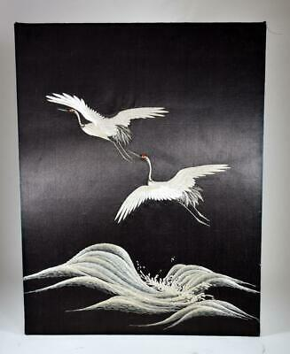 Fine Quality Vintage Chinese Embroidered Silk  Flying Cranes Picture Scroll