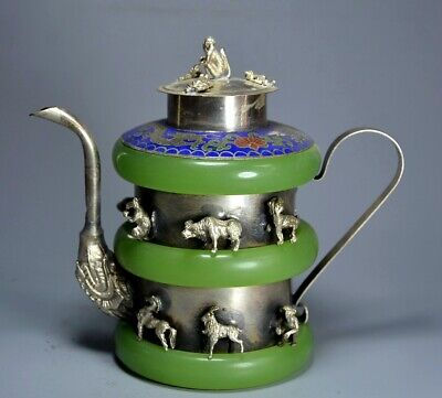 Collect Antique Tibet Silver Inlay Cloisonne & Jade Hand Carve Delicate Wine Pot