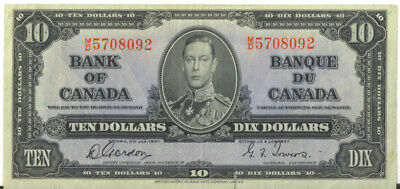 Bank of Canada 1937 $10 Ten Dollars Gordon-Towers M/D Prefix VF Tear in Margin