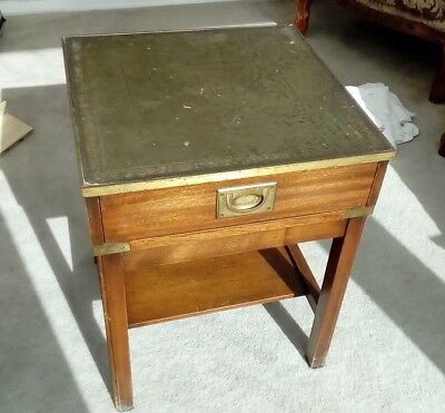 Vintage Bevan Funnell Ltd Reprodux Solid Wood square  Table -leather brass trim