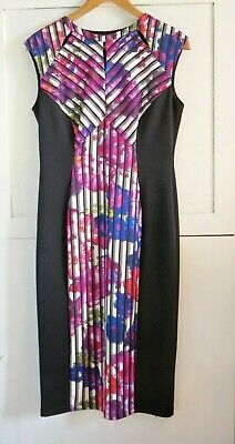 Marks and Spencers M&S Black Mix Floral Bodycon Dress Size 14 Sleeveless
