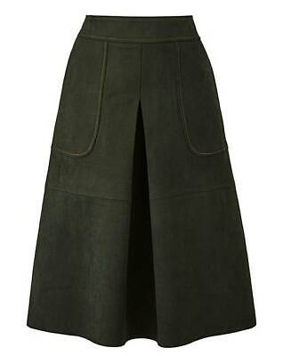 883604964707 TRAFFIC PEOPLE SUEDETTE MIDI SKIRT Dark Green A-Line Faux Suede UK 18 / 46