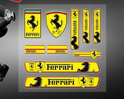 10PC Ferrari Car Strips Stickers Decal Badge Emblem For Famous Cars Yellow