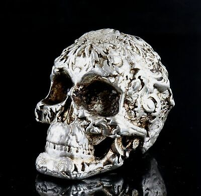 Collect China Old Tibet Silver Hand Carve Vicious Skull Moral Exorcious Statue