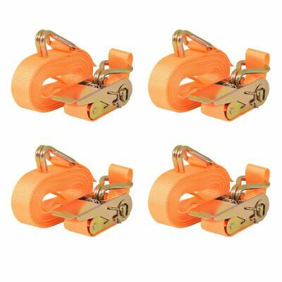 Sangle d'arrimage à cliquet 4 pcs 0,8 tonne 6 m x 25 mm Orange B7O3