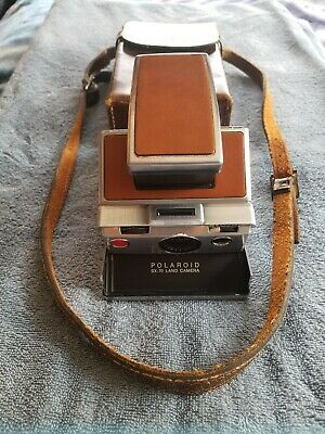 Polaroid sx-70 land camera and cowhide case