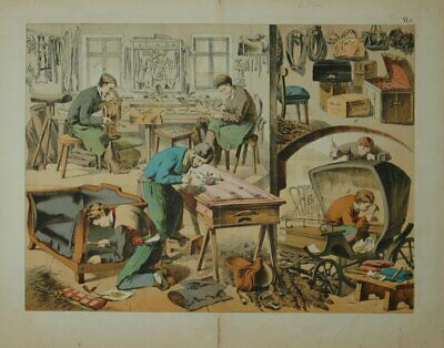 Profession: Sattler with Werkstatt. Old Coloured Lithographie.