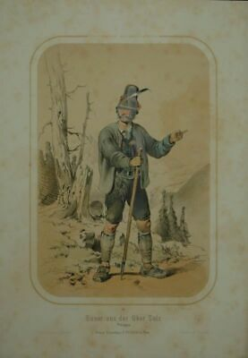 Builder from Upper Sulz. Pinzgau. Coloured Tinted Lithography by F.Gerasch