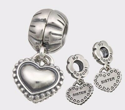 68355cd4a #336 NEW AUTHENTIC PANDORA MY SPECIAL SISTER CHARM #791383 W/Pouch & Cloth