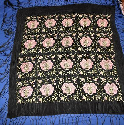 "Vintage Embroidered Piano Shawl Scarf, 45"" x 45"" + 14"" Fringe Black Pink Flowers"