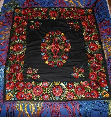 "Vintage Embroidered Piano Shawl Scarf, 50"" x 46"" + 9"" Fringe, Black w/Flowers"