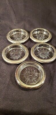 Set of 5 Vintage Glass Coasters with Silver Plate Rims by Leonard