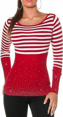 Sexy Miss Donna Maglione Pullover Strisce Strass 32 34/36/38 Top Rosso Bianco