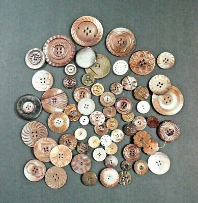 Great Lot of 43 Antique ~ Vintage Carved MOP Shell BUTTONS Large Variety