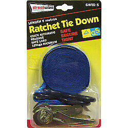 1 X Ratchet Tie Down With S Hook 5 Meter 125 Kg Load Safe Secure Tight Brand New