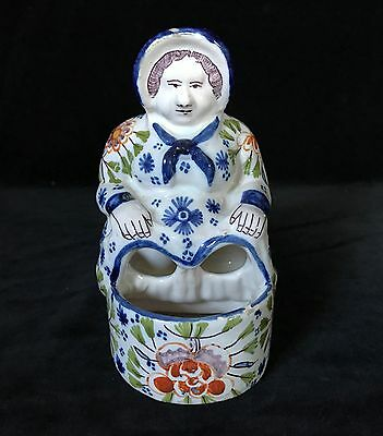 DESVRES SEATED LADY- French Faience Signed Geneviève Alizier Antique, circa 1895