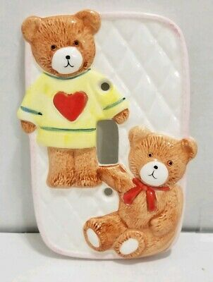Vintage Ceramic Wall Outlet Switch Cover  2 Bears Style Takahashi Made In Japan