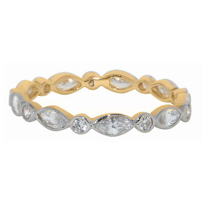 14k Two-tone Gold Antique-style Cubic Zirconia Eternity Band