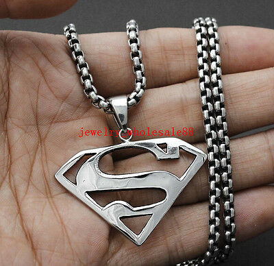 20''-32'' Rolo Box Chain Stainless steel Silver superman Pendant Necklace Mens